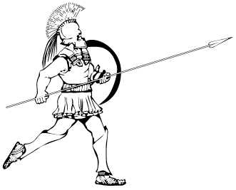 A Greek hoplite, armed with spear and shield