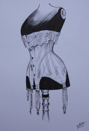 Antique corset drawing
