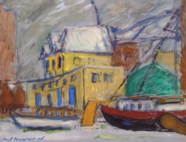 old shipyard Groenland in winter , Amsterdam