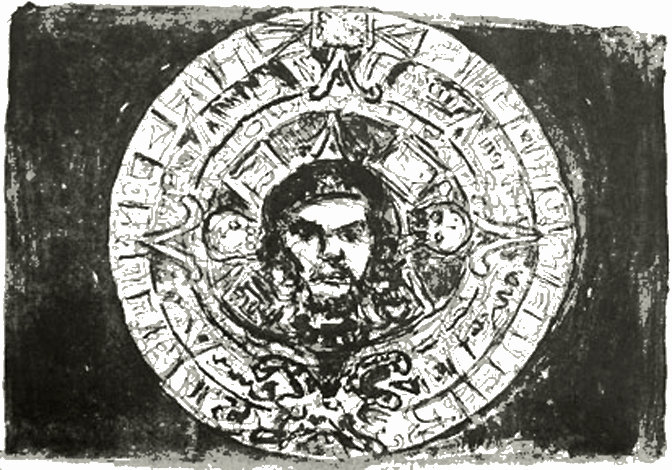 symbol of the calender of the Azrecs, with the head of Che Guevara