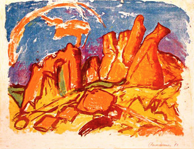 color-lithography: Red rocks on the coast of Brittany, France
