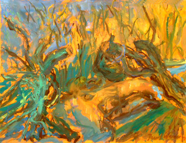 Colored willow branches in fall, painting on paper
