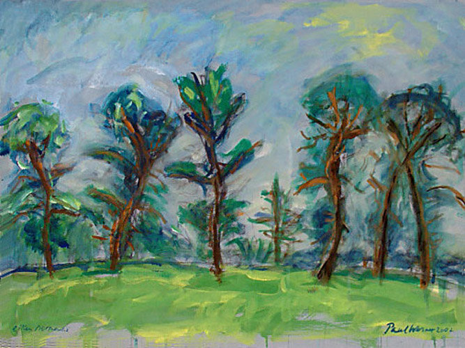 a row of oak tree in Normandy, France, painting on paper