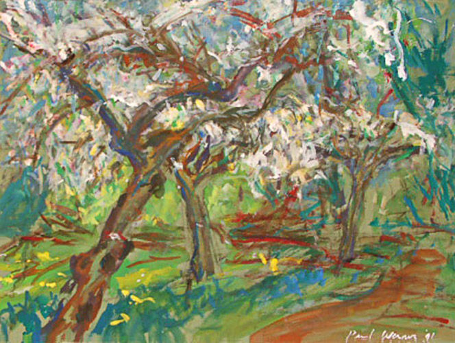 Fruit trees in blossom, painting on paper
