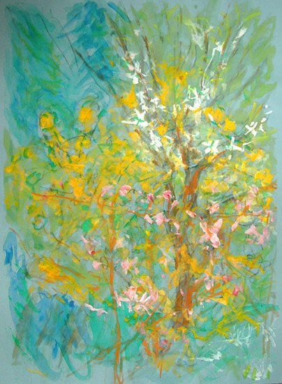 'Yellow blossom in my garden' painting on paper