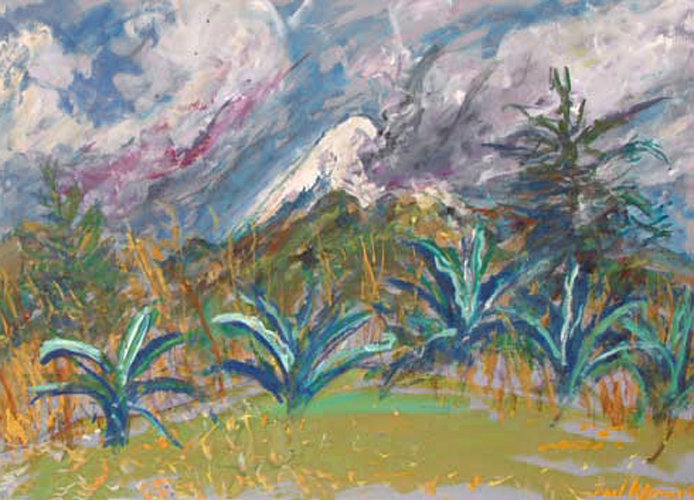 trees and landscape around vulcano Popocatépetl in Mexico, painting on paper