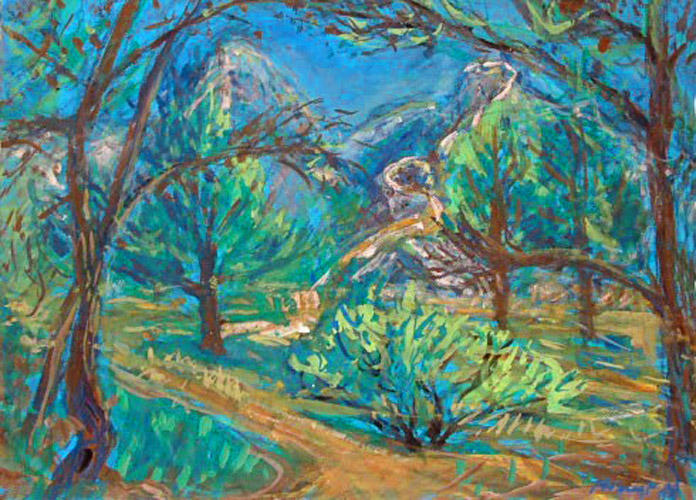 landscape of Saint Rémy de Provence; gouache on paper