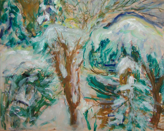 Winter, garden with snow, painting on paper
