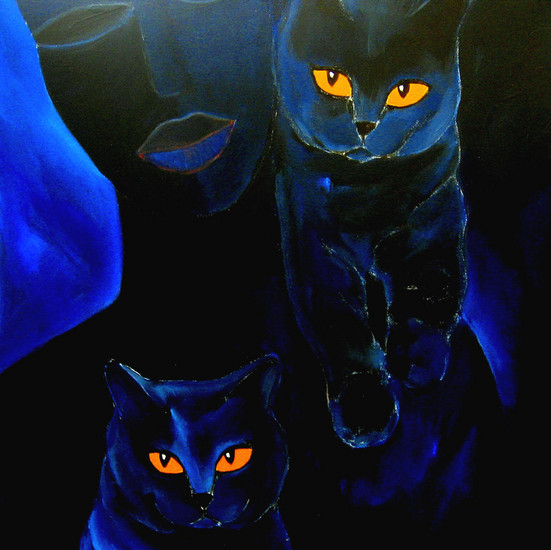 Blue cats, blue woman