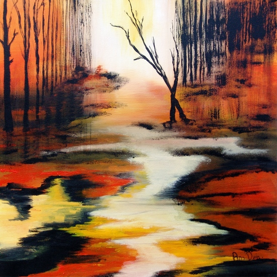 Landscape in orange./brown