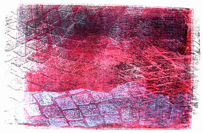 Pavement - red cobble-stones mixed with white color - monotype, graphic print
