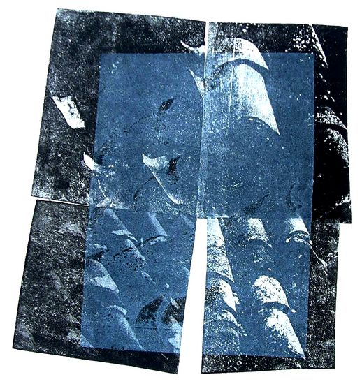 Black tiles with a blue plane 1. - monotype, graphic print, created from photo