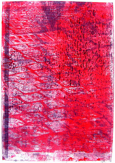 Red paving stones - monotype of cobblestones in the old city, graphic art