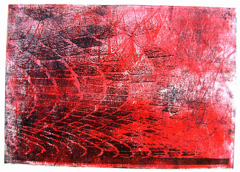Pavement - red and black cobble-stones - monotype, graphic print