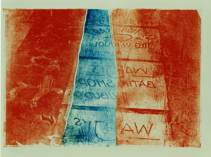 Ubud 4 ; written text on paving - monotype print in color
