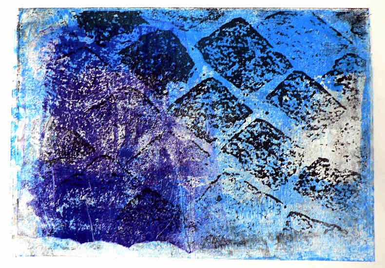 Blue pavement stones 1. - monoprint, graphic print