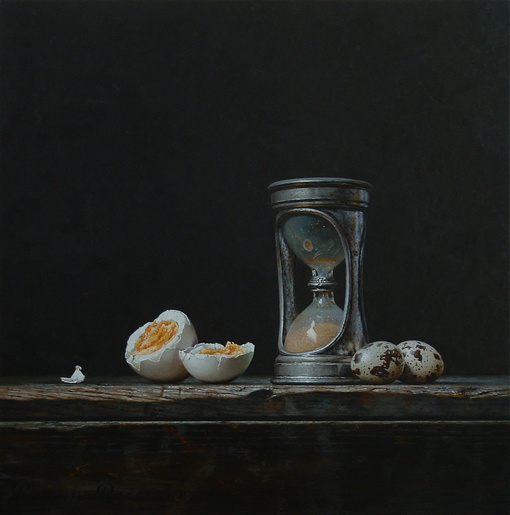 Still life with hourglass