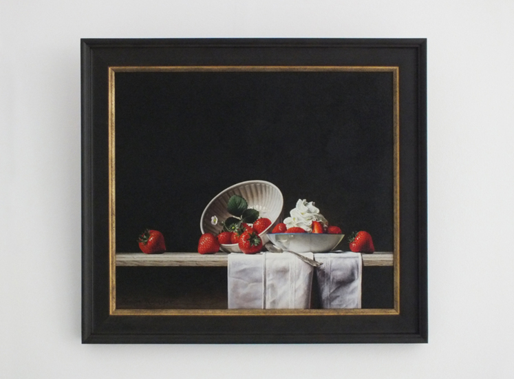 Giclée of Still life with strawberries and whipped cream