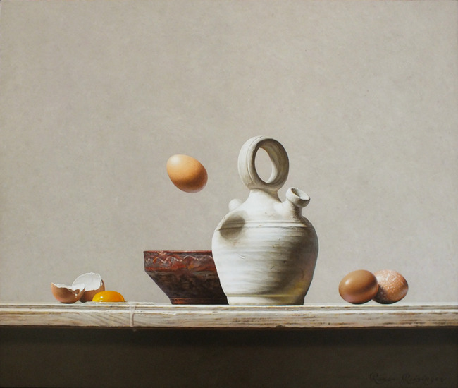 Still life with pottery and eggs