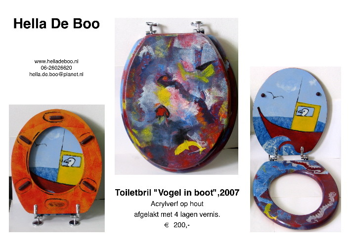 Toiletbril 'Vogel in Boot'