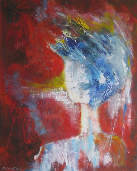 Abstract figuur in Rood, geen titel
