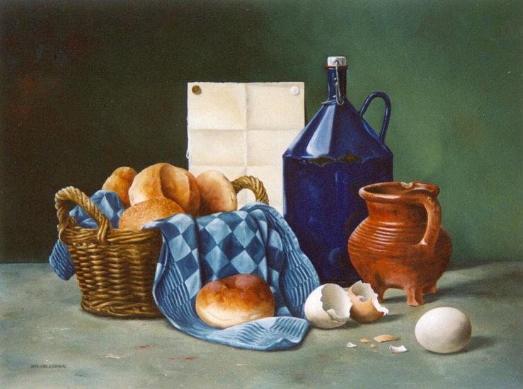 Stilleven met mandje brood en veldfles van pita vreugdenhil - Mandje doek doek ...
