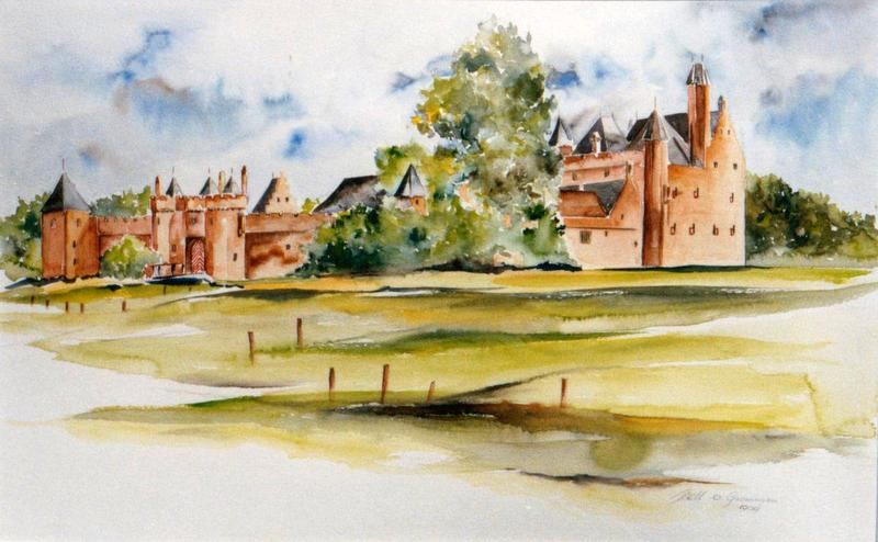 Aquarel Kasteel Doornenburg nr.34