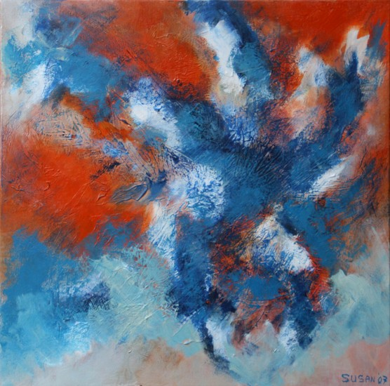 abstract - oranje blauw