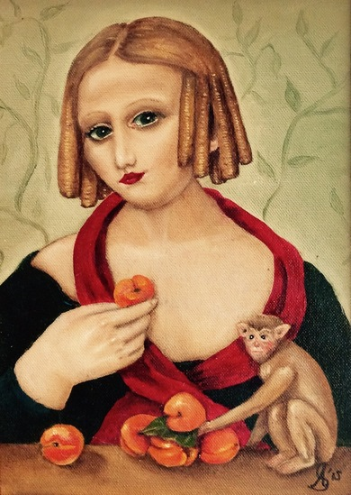 Girl with peaches