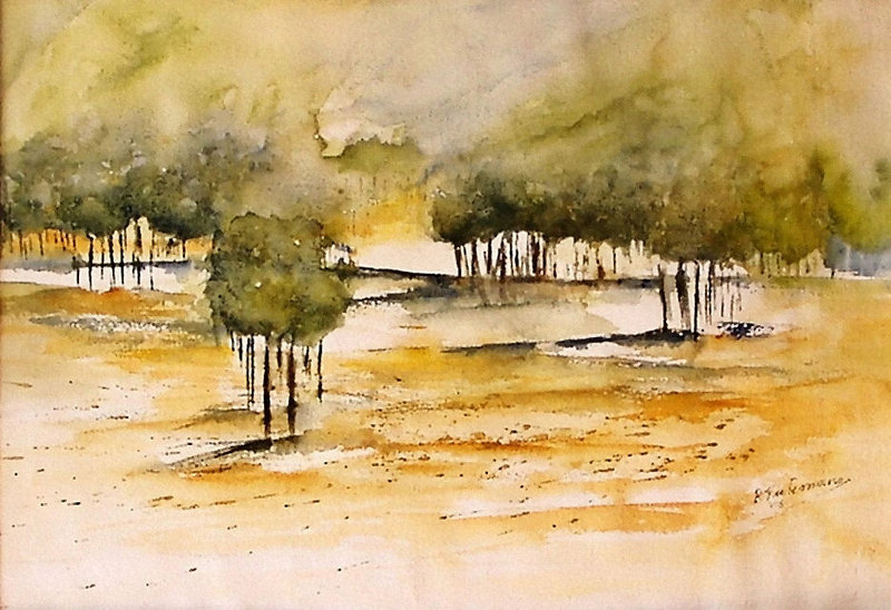 Heidebos, aquarel van landschap