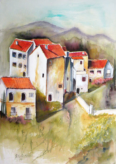 Andalusië, aquarel van landschap