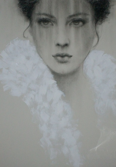 Angel face: white feathers