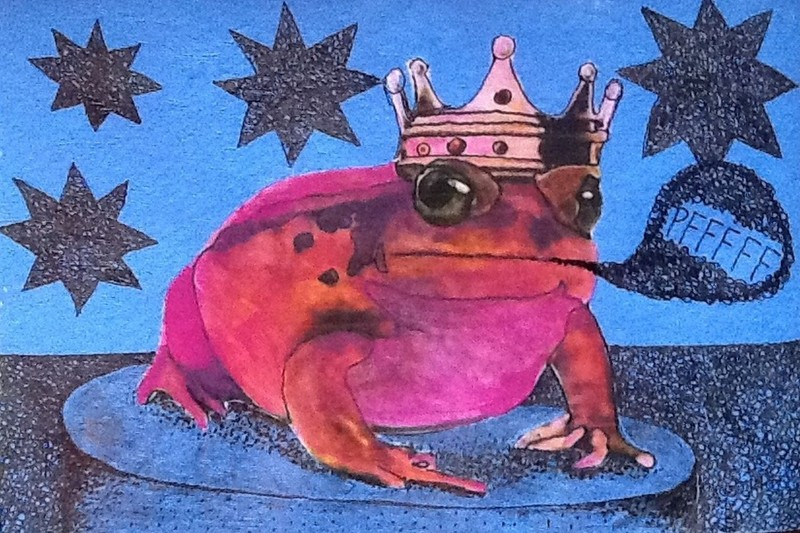 Outsider art: A frightened frog who thought he was a prince.