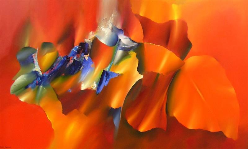 Geisha modern kleurrijk bloemenschilderij kleur rood kleur geel kleur oranje van - Associatie van kleur e geen schilderij ...