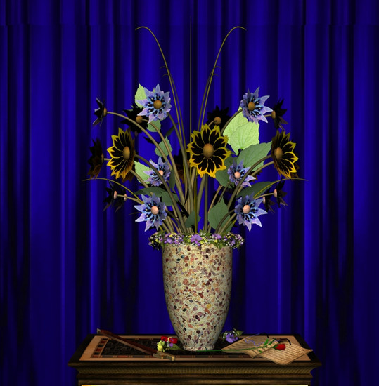 Stilllife Blue curtain