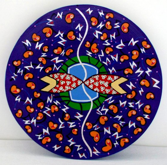 Decorated wooden plate 2