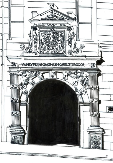 Historic gate in the church street at Leerdam