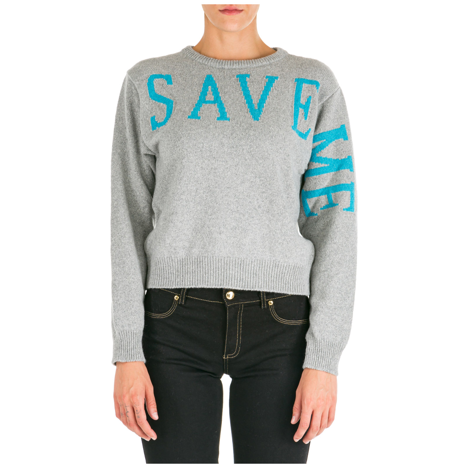 Women's jumper sweater crew neck round save me