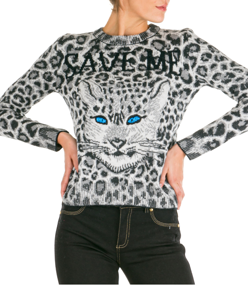 Women's jumper sweater crew neck round love me wild
