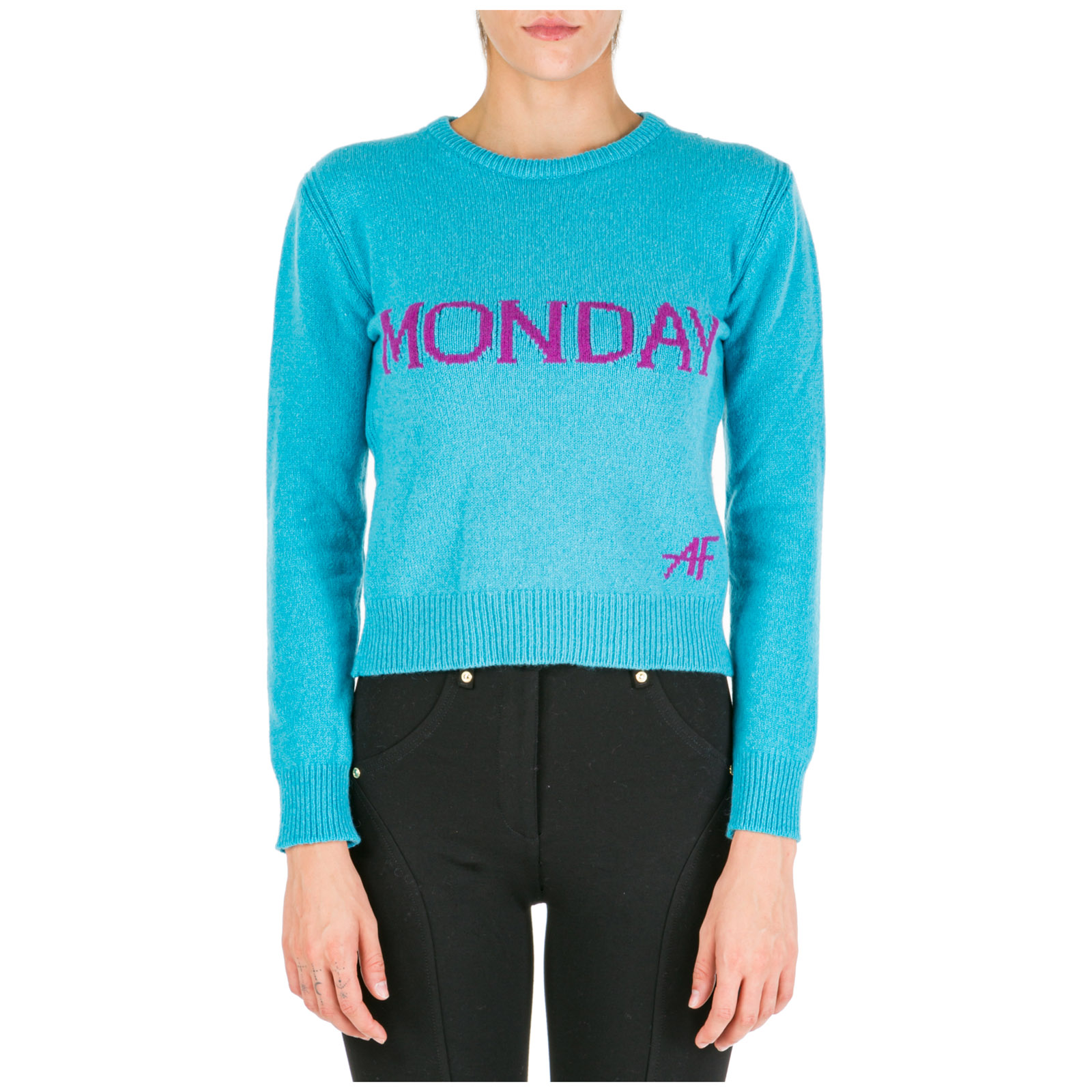 Women's jumper sweater crew neck round rainbow week monday