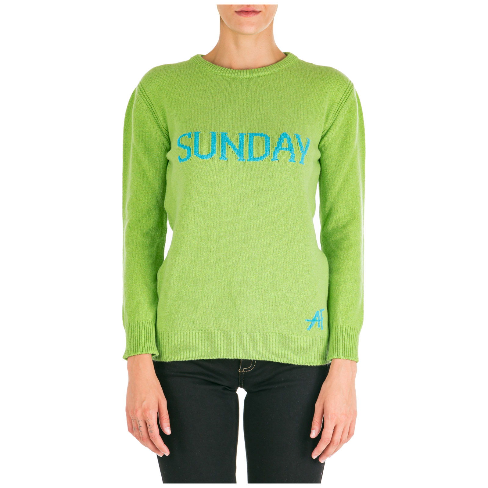 Women's jumper sweater crew neck round rainbow week sunday