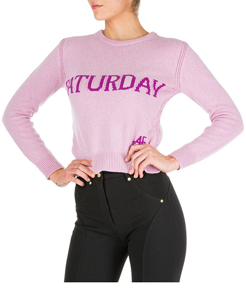 Women's jumper sweater crew neck round rainbow week saturday