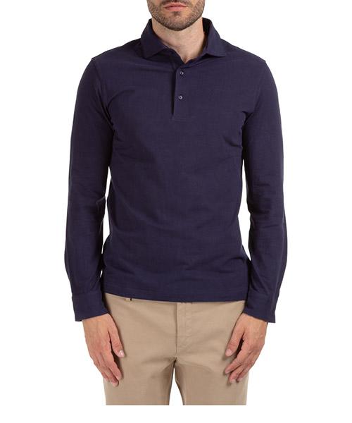 Long sleeve polo shirts AT.P.CO A215P10 JW01 blu790