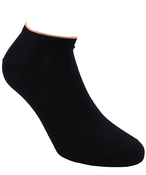 Calcetines invisibles Be Soft polsino arancio PLA1NERUUFC nero
