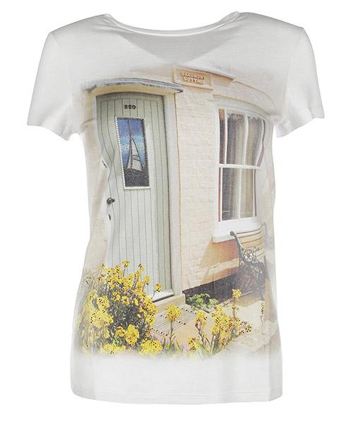 Camiseta de mujer de cuello redondo con mangas cortas