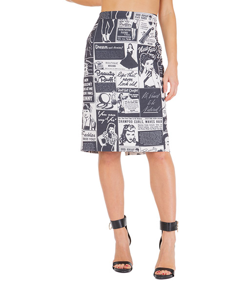 Gonna Boutique Moschino newspaper a010858511003 bianco