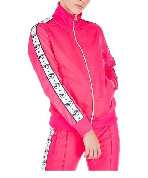 Felpa con zip Chiara Ferragni logomania cff085 rosa fluo
