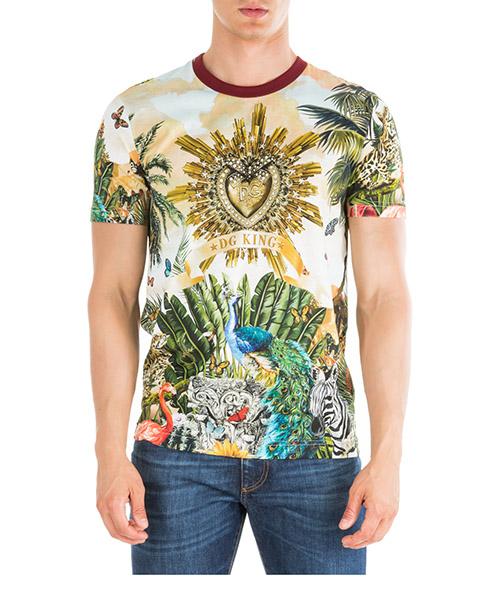 Camiseta Dolce&Gabbana Tropical king G8KBATHH7YPHHIH3 verde