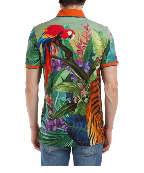 Men's short sleeve t-shirt polo collar jungle secondary image