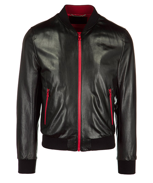 Veste en cuir Dolce&Gabbana G9IP4L FUL9B N0000 nero